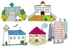 Проиллюстрированные здания Стоковые Изображения RF