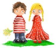 Проиллюстрированные милые дети любовников Стоковые Изображения
