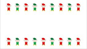 Проиллюстрированные оживленные красные и зеленые эльфы рождества на белизне сток-видео