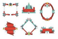 Проиллюстрированные установленные рамки и ленты вектора рождества Бесплатная Иллюстрация