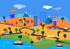 проиллюстрированный городок Стоковые Изображения RF