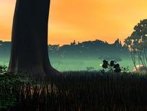 Проиллюстрированный ландшафт стоковая фотография rf