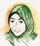 Проиллюстрированный портрет женщины нося Hijab бесплатная иллюстрация