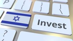 ПРОИНВЕСТИРУЙТЕ текст и флаг Израиля на кнопках на клавиатуре компьютера 3D анимация дела родственная схематическая бесплатная иллюстрация