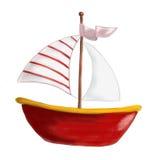 Проиллюстрированная красная шлюпка с красным и белым striped ветрилом Стоковое Изображение RF