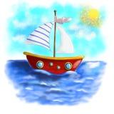 Проиллюстрированная красная шлюпка с striped плаванием ветрила на море Стоковое Изображение
