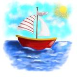 Проиллюстрированная красная шлюпка с striped плаванием ветрила на море Стоковое Фото
