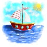 Проиллюстрированная красная шлюпка с striped плаванием ветрила на море Стоковое фото RF