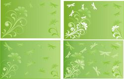 Проиллюстрированная открытка с цветками и dragonflies Стоковые Фотографии RF
