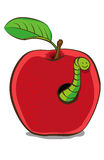 Проиллюстрированное красное Яблоко с червем Стоковое Изображение