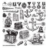 Проиллюстрированный комплект значков пирата Стоковые Фотографии RF