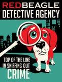 Проиллюстрированный плакат собаки бигля Стоковые Изображения RF