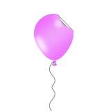 Проиллюстрированный розовый воздушный шар с смешным завитым влиянием стикера Стоковая Фотография