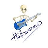 Проиллюстрированный скелет с голубой электрической гитарой хеллоуином Стоковая Фотография RF