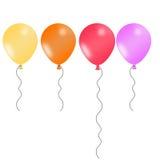 4 проиллюстрированных воздушного шара в радостных цветах Стоковые Изображения RF