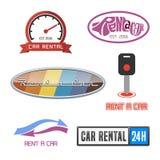 Прокаты автомобиля ярлык вектора и комплект значка бесплатная иллюстрация
