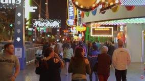 Прокладка Лас-Вегас - популярное и занятое место на ноче - США 2017 сток-видео