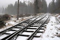 прокладывает рельсы снежное Стоковые Изображения RF