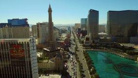 Прокладка городского пейзажа Лас-Вегас воздушная акции видеоматериалы