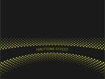 Прокладка названия влияния полутонового изображения с желтым текстом на темной серой предпосылке также вектор иллюстрации притяжк Стоковые Изображения