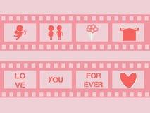 Прокладка фильма валентинки с купидоном, сердцами вектор Стоковая Фотография RF