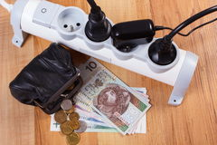 Прокладка электропитания с соединенными штепсельными вилками и польскими деньгами валюты, стоимостями энергии Стоковые Изображения