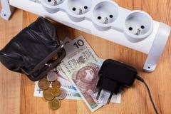 Прокладка электропитания с disconnected штепсельной вилкой и деньгами валюты заполированности, стоимостями энергии Стоковое фото RF