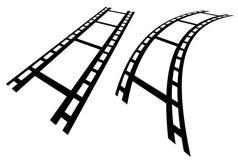 Прокладки фильма в перспективе Прямо и передернутое filmstrip Стоковые Фото