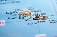 Пролив Apolima на карте Стоковое Изображение
