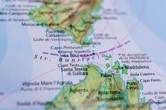 Пролив Bonifacio на карте стоковые изображения