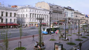 Промежуток времени бульвара Nevsky в Санкт-Петербурге акции видеоматериалы