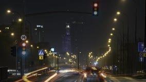 Промежуток времени Варшавы на ноче видеоматериал