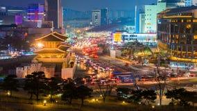 Промежуток времени горизонта города Сеула, Южной Кореи видеоматериал