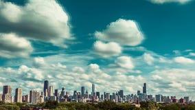 Промежуток времени города горизонта Чикаго сток-видео