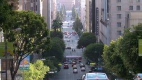 Промежуток времени занятой улицы города в городском Лос-Анджелесе daytime видеоматериал