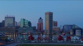 Промежуток времени захода солнца на внутренняя гавань Балтиморе, Мэриленде сток-видео