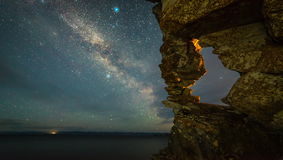 Промежуток времени звезды млечного пути на ноче сток-видео