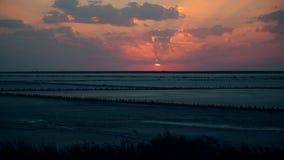 Промежуток времени красивого красочного захода солнца при кипя sunlit облака кумулюса двигая в оранжевое и желтое небо над темнот сток-видео