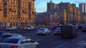 Промежуток времени Плотное движение на дороге Быстрое воспроизведение запачканный defocusing, 4K акции видеоматериалы