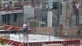 Промежуток времени работников каменщика сток-видео
