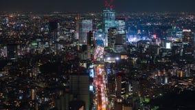 Промежуток времени столичной скоростной дороги нет Линия и город 3 Shibuya вечером в Токио, Японии сток-видео