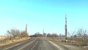 Промежуток времени управляя на дорогах зимы сток-видео