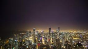 Промежуток времени Чикаго во время шторма молнии видеоматериал