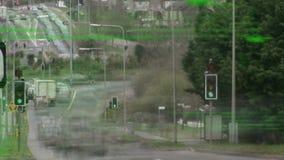 Промежуток времени шоссе с автомобилями видеоматериал