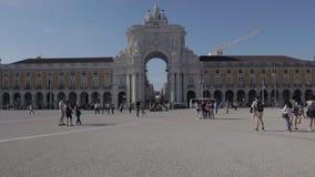 Промежуток времени Praça делает Comércio в Лиссабоне сток-видео