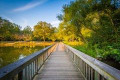 Променад на парке Рузвельта Уилсона, в Davidson, Северная Каролина стоковое изображение