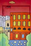 Промышленная входная дверь украшенная с городским красочным ландшафтом Стоковая Фотография