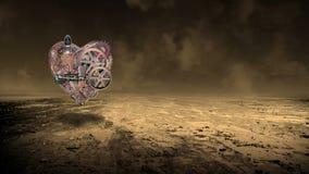 Промышленная машина Steampunk, человеческое сердце, технология акции видеоматериалы