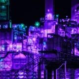 Промышленная футуристическая фиолетовая предпосылка с нефтеперерабатывающим предприятием стоковое изображение rf