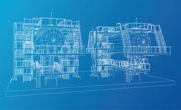 промышленное оборудование нефти и газ Провод-рамки Стоковое Изображение